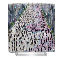 Shower Curtain featuring the painting Protesters by Judith Rhue