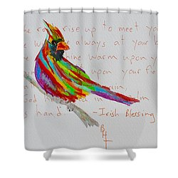 Proud Cardinal With Blessing Shower Curtain by Beverley Harper Tinsley