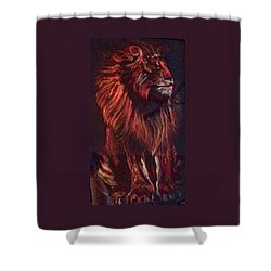 Shower Curtain featuring the pastel Proud King by Ellen Canfield