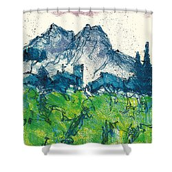 Shower Curtain featuring the painting Provence Landscape Alpilles by Martin Stankewitz