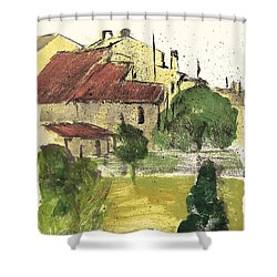 Shower Curtain featuring the painting Provence Landscape Sainte Marguerite by Martin Stankewitz