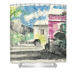 Shower Curtain featuring the painting Provence Landscape Village Cucuron by Martin Stankewitz