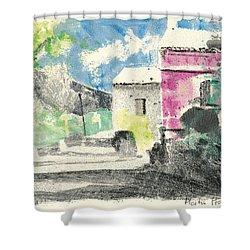 Provence Landscape Village Cucuron Shower Curtain by Martin Stankewitz