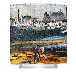 Shower Curtain featuring the painting Provincetown Artist by Michael Helfen