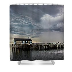 Shower Curtain featuring the photograph Provincetown Storm, Cabrals Wharf by Charles Harden