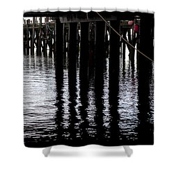 Shower Curtain featuring the photograph Provincetown Wharf Reflections by Charles Harden