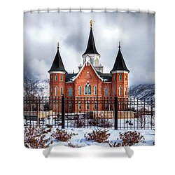Provo City Center Temple Lds Large Canvas Art, Canvas Print, Large Art, Large Wall Decor, Home Decor Shower Curtain by David Millenheft