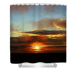 Prudhoe Bay Sunset Shower Curtain by Anthony Jones