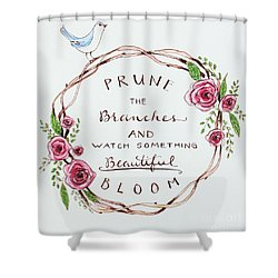 Pruning Shower Curtain by Elizabeth Robinette Tyndall