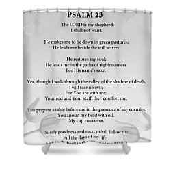 Shower Curtain featuring the painting Psalm 23 by Trilby Cole