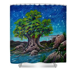 Shower Curtain featuring the painting Psalm One by Matt Konar