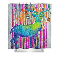 Shower Curtain featuring the painting Psychedeer by Li Newton