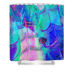 Psychedelic Blue Shoes Shopping Is Fun Abstract Square 4f Shower Curtain