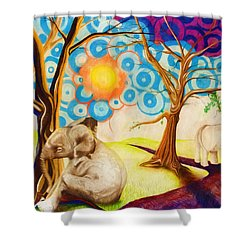 Shower Curtain featuring the drawing Psychedelic Elephants by Shawna Rowe