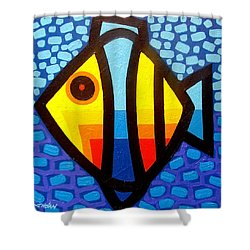 Psychedelic Fish Shower Curtain by John  Nolan