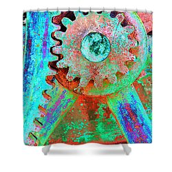Psychedelic Gears Shower Curtain by Phyllis Denton