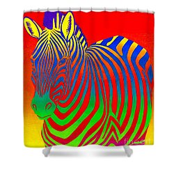 Psychedelic Rainbow Zebra Shower Curtain