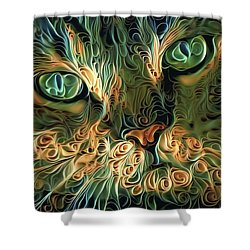 Psychedelic Tabby Cat Art Shower Curtain