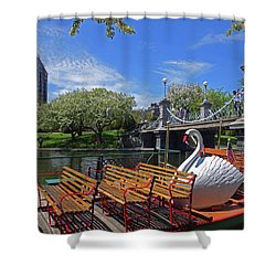 Public Garden Swan Boat In The Spring Boston Ma Shower Curtain
