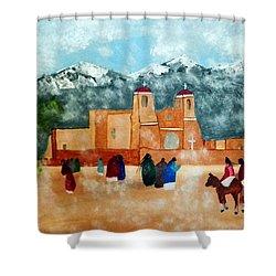 Pueblo Church Shower Curtain by Joseph Frank Baraba