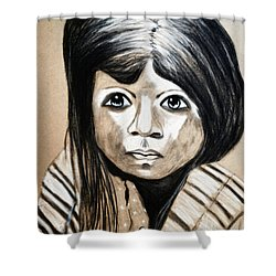 Shower Curtain featuring the drawing Pueblo Girl by Ayasha Loya