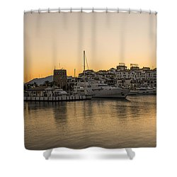 Puerto Banus In Marbella At Sunset. Shower Curtain by Perry Van Munster