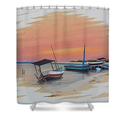 Puerto Progreso V Shower Curtain by Angel Ortiz