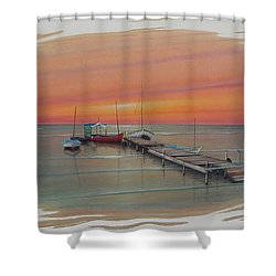 Puerto Progreso Vl  Shower Curtain by Angel Ortiz