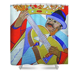 Shower Curtain featuring the painting Puerto Rican Cuatro  - Ten Strings by Denise Weaver Ross