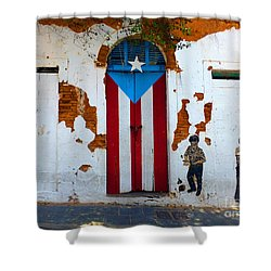 Puerto Rican Flag On Wooden Door Shower Curtain