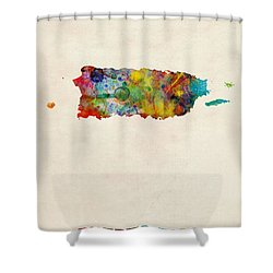 Puerto Rico Watercolor Map Shower Curtain