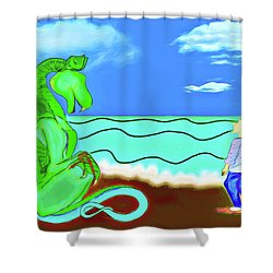 Shower Curtain featuring the digital art Puff by John Haldane