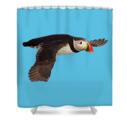 Puffin In Flight T-shirt Shower Curtain
