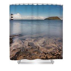 Puffin Island Lighthouse  Shower Curtain