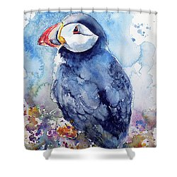 Puffin With Flowers Shower Curtain by Kovacs Anna Brigitta