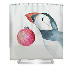 Puffin's First Christmas Shower Curtain by Doug Moore