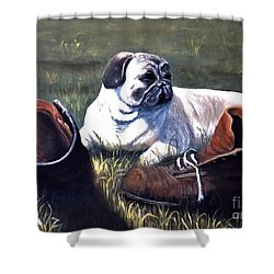 Pug And Boots Shower Curtain