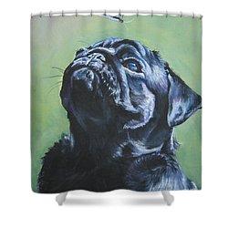 Pug Black  Shower Curtain