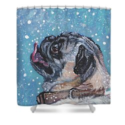 Shower Curtain featuring the painting Pug In The Snow by Lee Ann Shepard