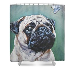 Pug With Butterfly Shower Curtain