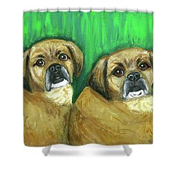Puggles Bruno And Louie Shower Curtain by Ania M Milo
