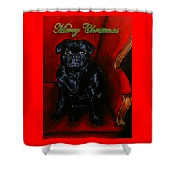 Puggsley Christmas Shower Curtain