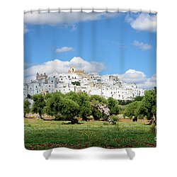 Puglia White City Ostuni With Olive Trees Shower Curtain