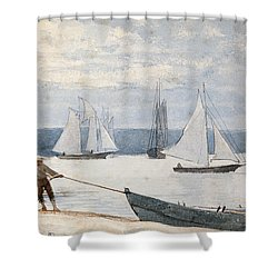 Pulling The Dory Shower Curtain by Winslow Homer