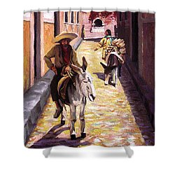 Pulling Up The Rear In Mexico Shower Curtain by Nancy Griswold