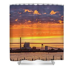 Shower Curtain featuring the photograph Pulp Mill Sunset by Greg Nyquist
