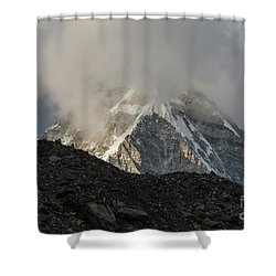 Shower Curtain featuring the photograph Pumori Dusk Light by Mike Reid