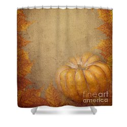 Pumpkin And Maple Leaves Shower Curtain