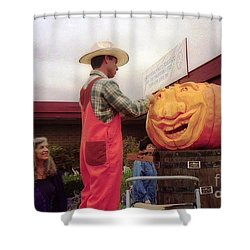 pumpkin Carver moon bay Shower Curtain by Ted Pollard