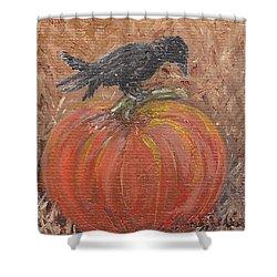 Pumpkin Crow Shower Curtain